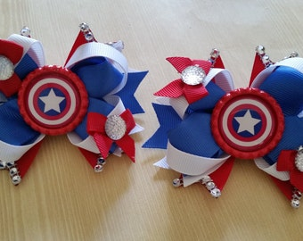 Captain America girls superhero hair bows.Set of 2. Perfect for piggy tails :)