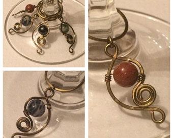Gemstone Wine charms Set of 8