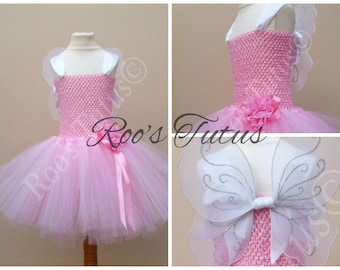 Pink Fairy tutu dress costume (handmade) with wings. Party, Princess Dress up