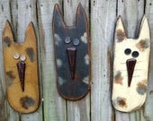 Large Primitive Cat - Solid Wood - Handmade Wall Decor - OFG, FAAP, HAFAIR, Team HaHa