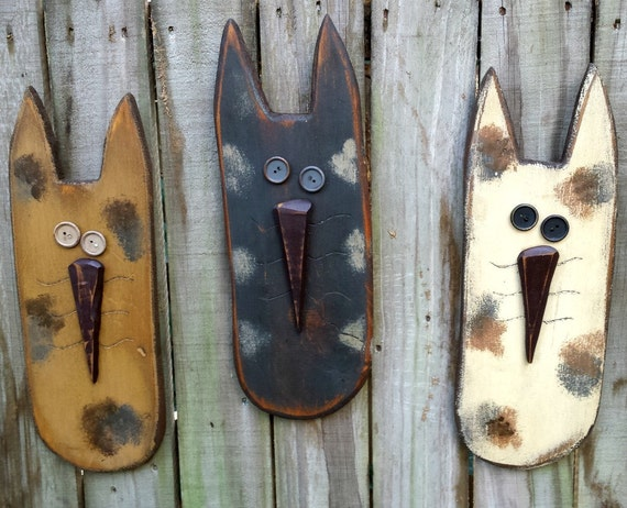 Large Primitive Cat - Solid Wood - Handmade Wall Decor - OFG, FAAP, HAFAIR
