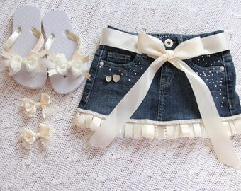Denim Ribbon Skirt Flip Flops and Bows
