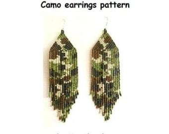 Camo earrings pattern, camo jewelry, camouflage earrings, fashionable earrings, native American earrings pattern, PDF file, beading pattern