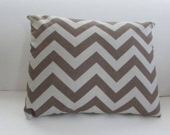 Pewter Brown/Natural Accent Pillow Cover, Brown Zig Zag Pillow Cover