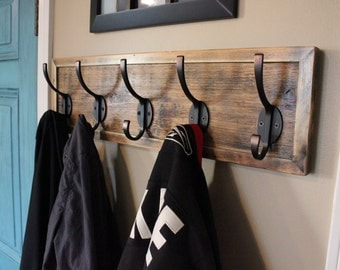 Unique Rustic Entryway Coat Rack - Distressed with Antique Bronze Hooks