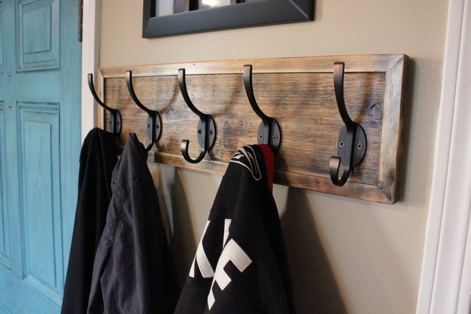 Unique Rustic Entryway Coat Rack Distressed With Antique