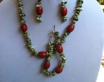 Turquoise and Bamboo Coral Necklace Set