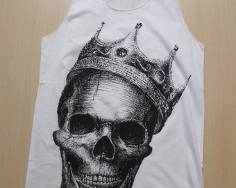 Skull Crown Punk Pop Rock Fashion T-Shirt Vest Tank Top