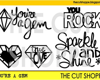 The You're a Gem cut file set includes a mix of icons and phrases, that can be used on your scrapbooking and papercrafting projects.