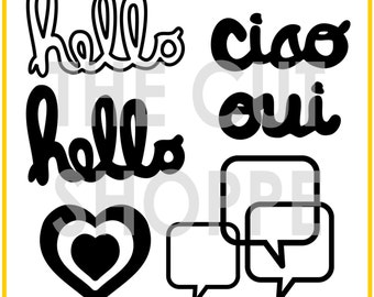 The Chit Chat cuf file includes 4 phrases and 2 icons, that can be used for your scrapbooking and papercrafting projects.
