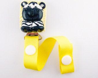 Pacifier holder handmade in polymer clay, zebra