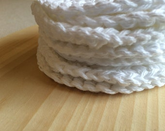 Face pads Set of 7 White large Eco Friendly Face Scrubby Cotton Crochet Pads