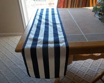 Beautiful Wedding Table Runner in Nautical Navy Blue and White Stripes Custom sizes