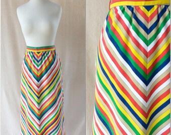 Vintage 1970s Rainbow Chevron Striped A-Line Skirt / Knee Length / Handmade / Size S
