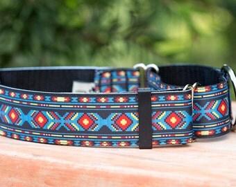 "1.5"" Aztec Dog Collar, Martingale OR Buckle Collar, Greyhound Collar"