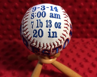 Birth Announcement Customized Baseball (stand not included)