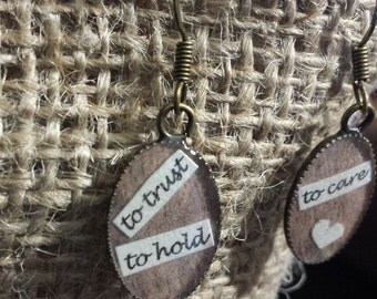 AVETT BROTHERS To trust, To hold, To Care Brown Wooden EARRINGS