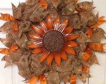 Sunflower mesh wreath, Fall wreath, Autumn wreath, Fall mesh wreath, Autumn mesh wreath