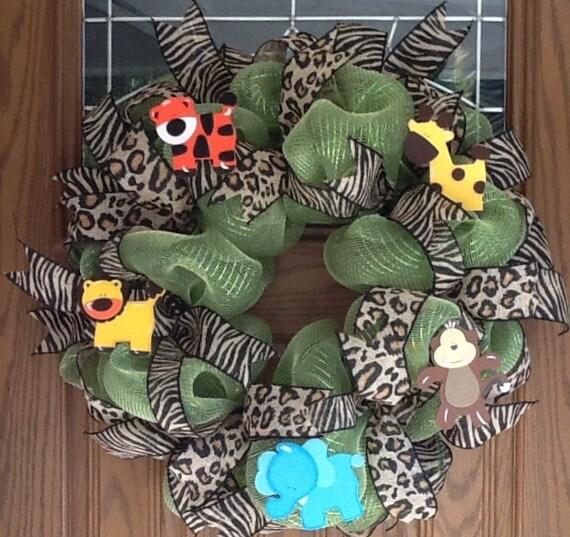 Baby mesh wreath, animal mesh wreath, Zoo animal wreath, Baby boy
