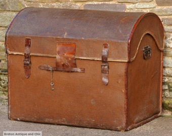 Vintage Domed Top Steamer Trunk with Leather Trim (postage not included)