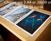 SALE, Set of 3 fine art print for interior decor 20x30 cm or A4 format