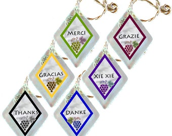 "Wine Glass Charms ""Thanks"" from rescued, repurposed window glass~When you don't want to share, mark your glass!"