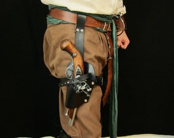Pirate leather leg gun holster