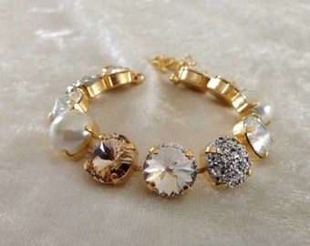 12mm swarovski crystal bracelet -gold or silver- necklace and earrings available- pearl, champagne, crystal- CLASSIC COLORS