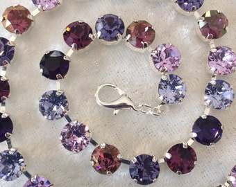Swarovski crystal necklace, choker, crystal necklace, purple,8mm, bridesmaids jewelry, affordable gift