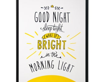 Good night - limited edition hand-pulled original screenprint. Perfect for a nursery or kids room!