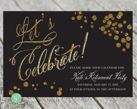 retirement party invitation gold confetti postcard birthday