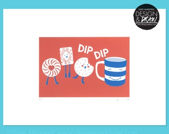 NEW Biscuits & Tea DipDip Screen Print • Signed Limited Edition A3 Hand-pulled Original • Kitchen • Nursery • By Kate Maxwell DesignandDraw
