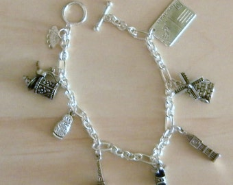 Silver Plated 'Postcards from Europe' Charm Bracelet