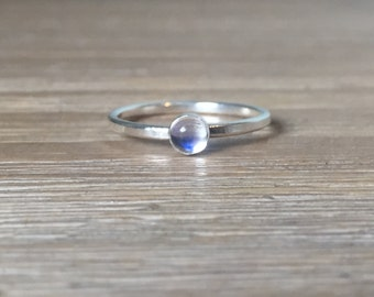 Rainbow Moonstone and Sterling Silver Ring, Gemstone Stacking Ring