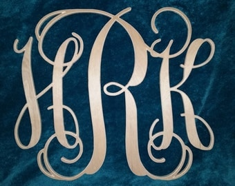 Custom Wood Carved Monogram Initials