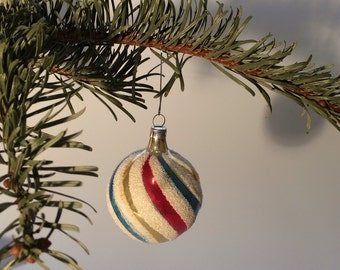 Czech Bohemian Christmas Glass Ornament Painted Blue Gold Red Ball