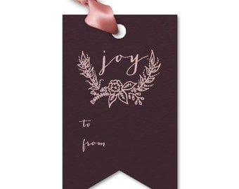 Joy Personalized Holiday Gift Tag - Custom Party Gift Tags, Foil Stamped Favor Gift Tags Listing, Christmas Gift Tags Stats