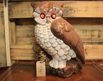 Large Ceramic Owl with Light Up Eyes