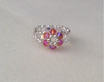 Fire Opal Swarovski ring