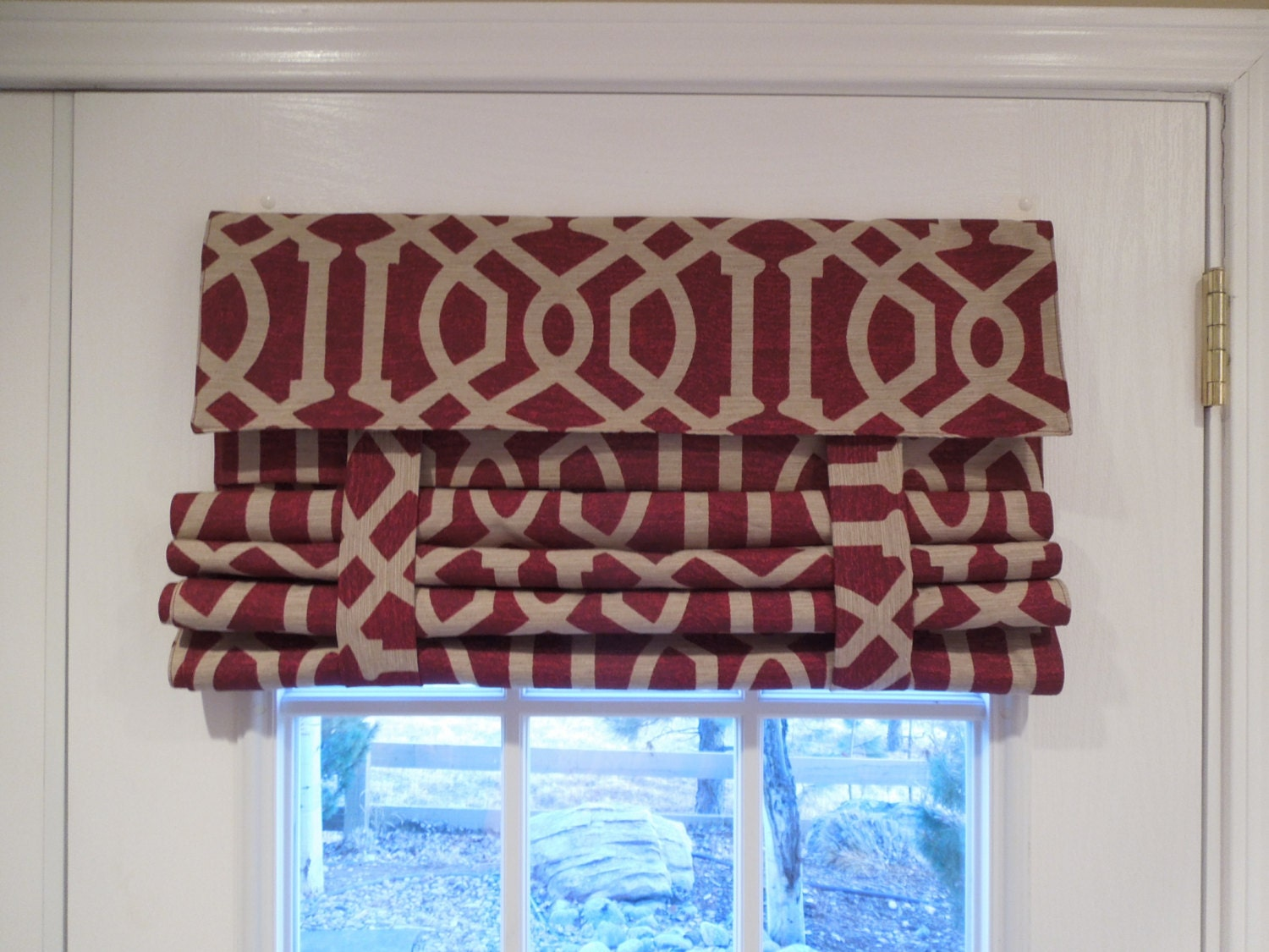 French Door Curtains Red W Tan Lattice Pictured