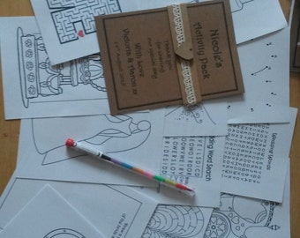Children's Wedding Activity Pack Personalised, Kids favour, Children's wedding favour, Bride and Groom Colouring in