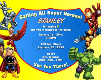 Superhero Squad Birthday Invitation - Printable