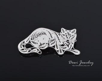 Sterling Silver Filigree Lazy Cat Brooch