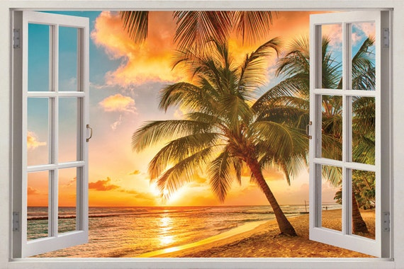 Beautiful palmy beach sunset mural by fromeuwithlove on etsy for Beach sunset mural
