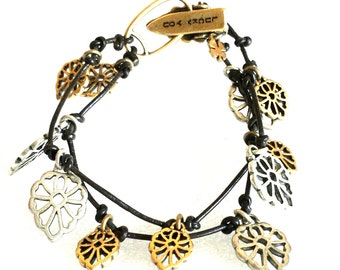 Lucky Brand Silver-Tone Gold-Tone Openwork Leather Bracelet