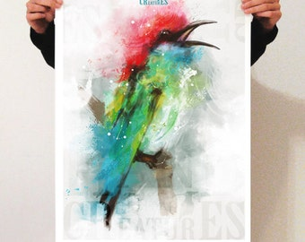 "Poster 50 x 70: digital painting reproduction ""Bird"" on semi matte paper 150 gr."