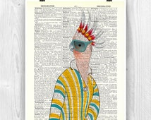 Parrot Art, Lady parrot print with sunglasses, french fashion, parakeet art, bird art, dictionary art, decorative arts, Fantasy print