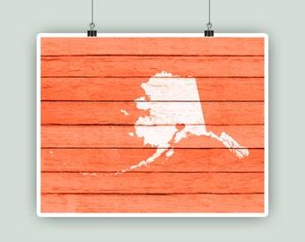 Alaska art, Alaska State print, Alaska rustic faux wood print, personalized state map, lodge, house warming, Anchorage hearted city.