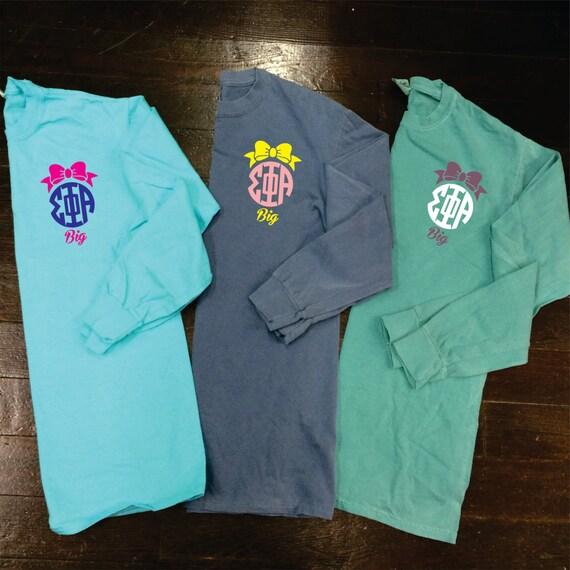 Big little gbig bow sorority monogram comfort colors long for Cute greek letter shirts