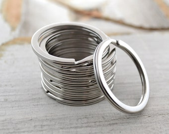 Stainless Steel Key Ring | Flat Split Ring for Keychains | 32mm